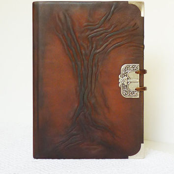 Leather Journal A5, Leather Diary, Gift for Him, Boyfriend, Birthday, Bucket List, Tree of Life, Memories Art Notebook, Handmade Leather Art