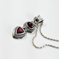 "Ruby Pendant - Hinged Sterling Pendant Necklace - 16"" Sterling Rope Chain Necklace - Vintage Ruby Pendant - Two Stone Pendant"