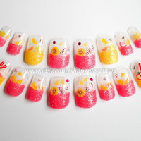 Lemonade Candy Fruit Slice Nails Artificial Nails in by niceclaws