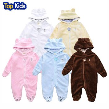 Cartoon Coral Fleece Newborn Baby Romper Costume Baby Clothes Animal Overall  Winter Warm Long sleeve Baby Jumpsuit