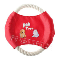 Cotton Rope Pet Dog Frisbee Flyer Toy (Random Color)