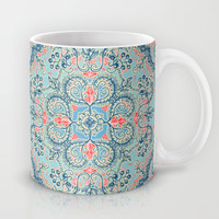 Gypsy Floral in Red & Blue Mug by micklyn