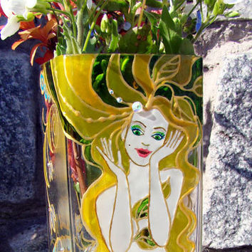 "Hand Painted Glass Vase. Vase in the Art Nouveau style. Festive vase ""Pretty Woman."""