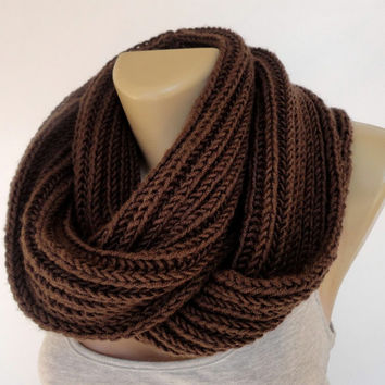 chocolate brown knitted scarf ,men scarf ,women scarves ,infinity scarf ,cowl ,unisex , eternity , circle ,neckwarmer ,EXTRA SOFT