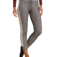 French Terry Skinny Sweatpants by Charlotte Russe - Charcoal