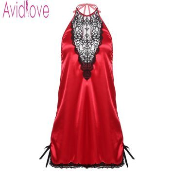 Avidlove Ladies Summer Sleepwear Plus Size Women Sexy Lace Stain Nightgown Sexy Lingerie Dress Nightwear Halter Nightdress S-XXL