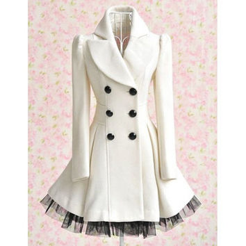Women's Vintage Style Long Sleeves Ruffled Long Coat