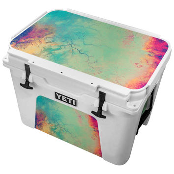 Wrinked Teal and Pink Watercolored Paper Skin for the Yeti Tundra Cooler