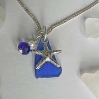 Blue Sea Glass Necklace with Starfish