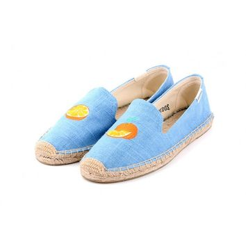 Smoking Slipper Embroider - Orange Periwinkle Espadrilles for Women from Soludos - Soludos Espadrilles