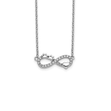 14k White Gold Diamond Infinity Pawprint Heart Necklace