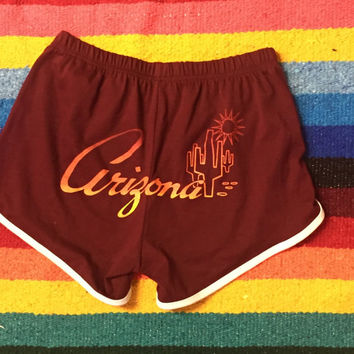 Maroon Arizona Sunrise Track Shorts - jogging running red and white striped 70s style booty shorts athletic festival gym shorts S M L