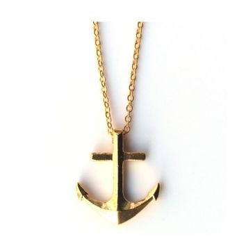 Gold Chain Anchor Pendant Necklace for Women