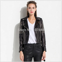 2015 Lady Genuine Sheepskin Leather Jacket Coat with Silver Rivet Spring Autumn Women Outerwear Coats Garment VK2260