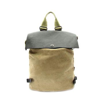 LMF78W Faux Leather and Canvas Backpack