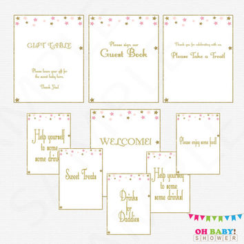 9 Baby Shower Table Signs, Twinkle Twinkle Little Star Baby Shower, Pink Gold Baby Shower, Welcome Sign, Guest Book, Girl Baby Shower, STPG