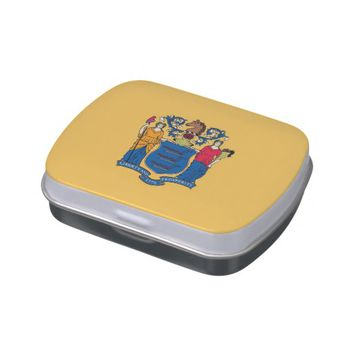 Patriotic candy tins with Flag of New Jersey