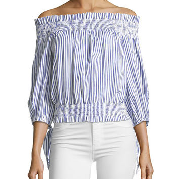 Caroline Constas Lou Off-the-Shoulder Striped Crop Top
