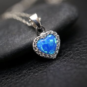 Tiny Opal Necklace, Blue Opal & CZ Pendant, Full Sterling Silver Blue Heart Necklace, Delicate Opal Jewelry, CZ Necklace, Children Jewelry