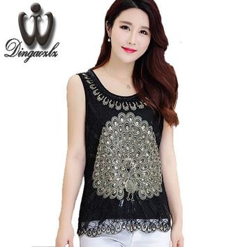 High Quality Summer New Plus size Vest Tops female sleeveless lace embroidery blouse Slim sequin Women shirts Blusas Femininas