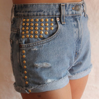 Cutoff High Waisted Studded Jean Shorts by p4pministry on Etsy