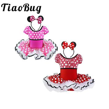 TiaoBug Girls Polka Dots Tutu Dancing Party Dress + Bow Headband Glitz Pageant Dress for Kids Fancy Feast Ball Prom Tulle Dress