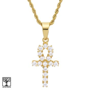 "Jewelry Kay style Gold Plated Stainless Steel CZ Ankh Cross Pendant 24"" Chain Necklace SCP 8033 G"