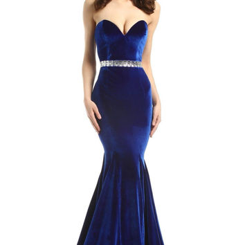 JOHNATHAN KAYNE 6104 Velvet Sweetheart Jeweled Waistline Prom Evening Dress