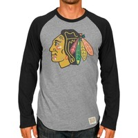 Original Retro Brand Chicago Blackhawks Raglan Long Sleeve T-Shirt - Ash