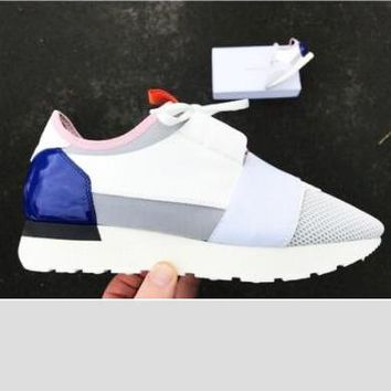 Balenciaga Fashion Race Runners Women Men Casual Shoes White+Blue Tail