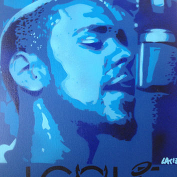 painting of j cole,stencils,spraypaints,music,canvas,blues,hand made,urban,hip hop,studio,wall art,5 layer,culture,america,r&b,art,portrait