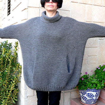 Plus Size Women Alpaca HandKnit Cozy Dark Fine Gray Sweater Tunic Cardigan Pullover Alpaca Wool Pockets Loose Cowell Neckline Gift For MOM