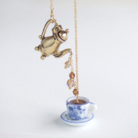 Breakfast Coffee Lariat Necklace, Teapot Gold Jewelry, Blue China Tea Cup, Gift for Her