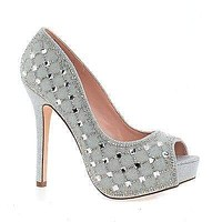 Carina41 By Blossom, Peep Toe Rhinestone Glitter & Beaded Stiletto Heel Pumps