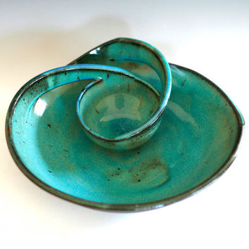 Chip and Dip, handmade ceramic dish, ceramics and pottery