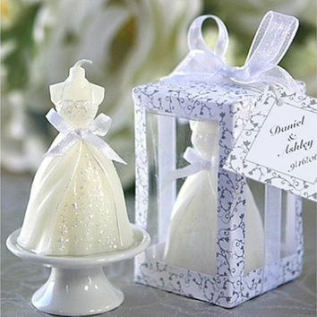 Lovely Boxed White Bridal Bride Shape Candle Wedding Party Favors Bridal Decor (Color: White) [7983359431]