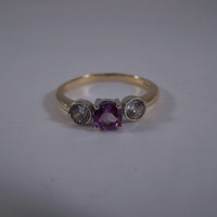 Vintage 9ct Gold Amethyst & Cubic Zirconia Trilogy Ring Hallmarked Size R 8 3/4