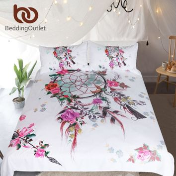 BeddingOutlet Dreamcatcher Bedding Set Floral Chic Duvet Cover Bohemian Spring Spirit Bedclothes Pink Girls Home Textiles 3pcs