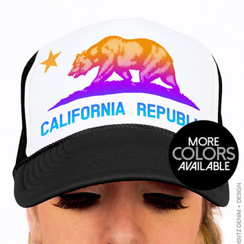 California Republic State Flag Snapback Hat -  Trucker Hat - Black Pink and Blue Neon Hats