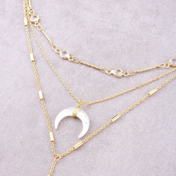 Opulent Crescent Layered Necklace
