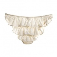 Letters of Marque Noir Silk Cotton Stretch Ruffle panty
