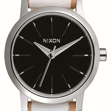 Women's Nixon 'The Kenzi' Round Leather Strap Watch, 26mm - White/ Navy