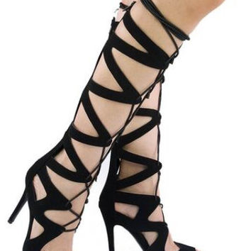 Knee High Tie Up Sandals