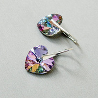 Sterling silver Swarovski crystal vitrail light multicolour rainbow violet lavender pink heart shape pendant dangle leverback earrings