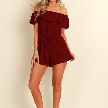 Many Moons Off The Shoulder Romper Wine