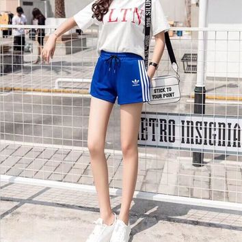 """Adidas"" Women Casual Fashion Letter Print Short Sleeve T-shirt Stripe Shorts Set Two-Piece Sportswear"