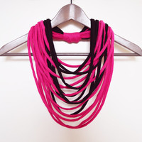 SALE! Black-pink necklace neck ornament loop scarf infinity scarf round scarf