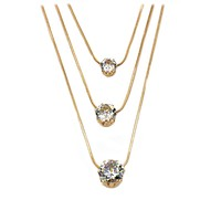 fashion layer chain crystal necklace