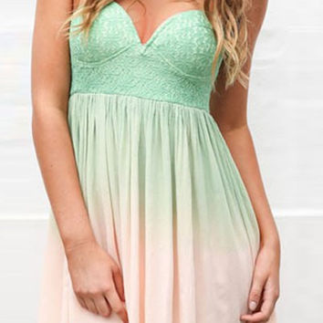 Light Green and White Strapless Dress
