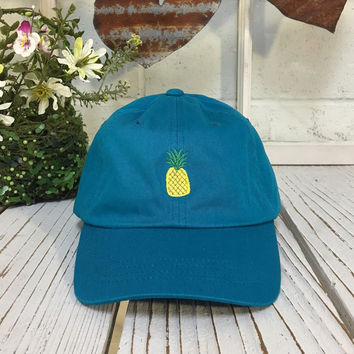 New Pineapple Embroidered Aqua Blue Polo Baseball Cap Low Profile Curved Bill